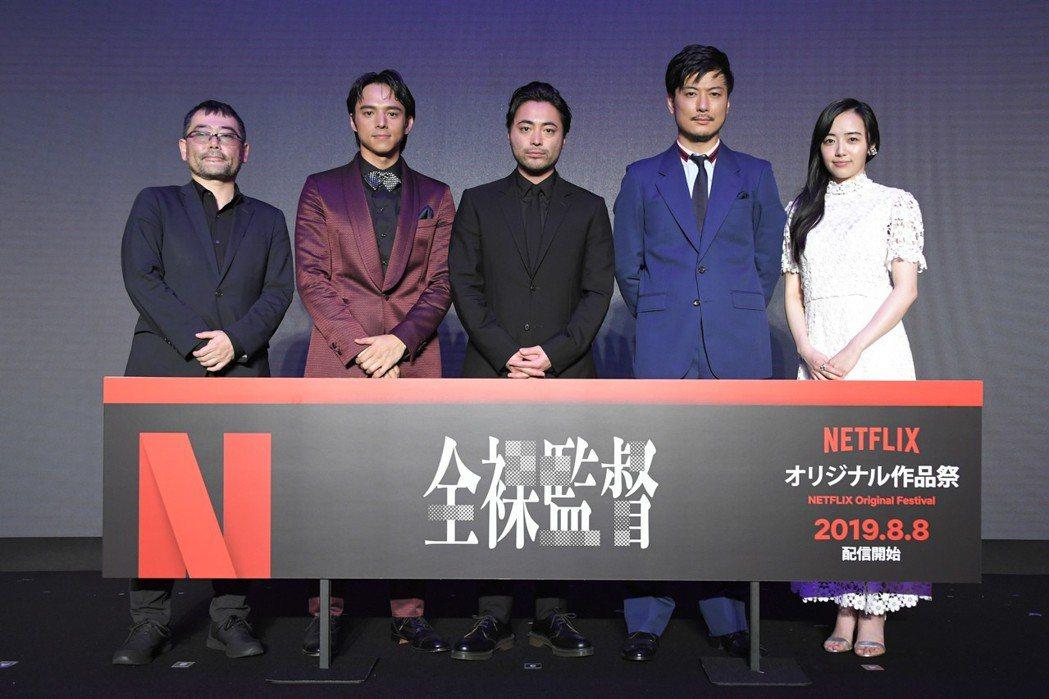 「AV帝王」導演武正晴(左起)與主要演員滿島真之介、山田孝之、玉山鐵二、森田望智