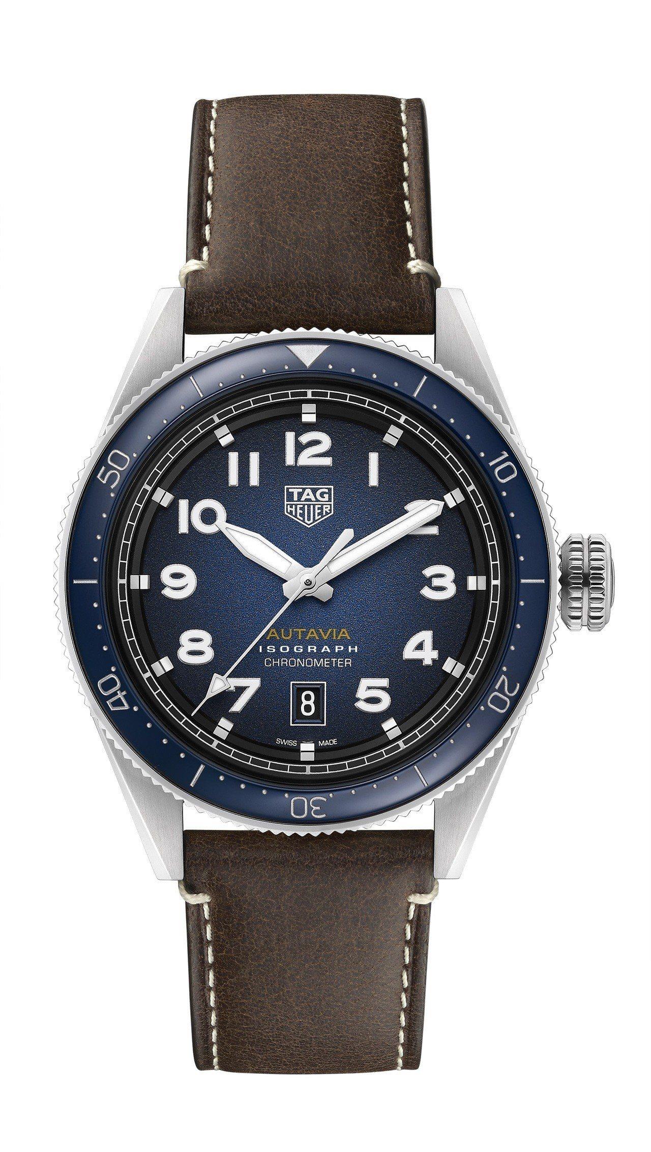 泰格豪雅Autavia系列腕表,不鏽鋼表殼搭配藍色陶瓷表圈,具38小時動力儲存,...