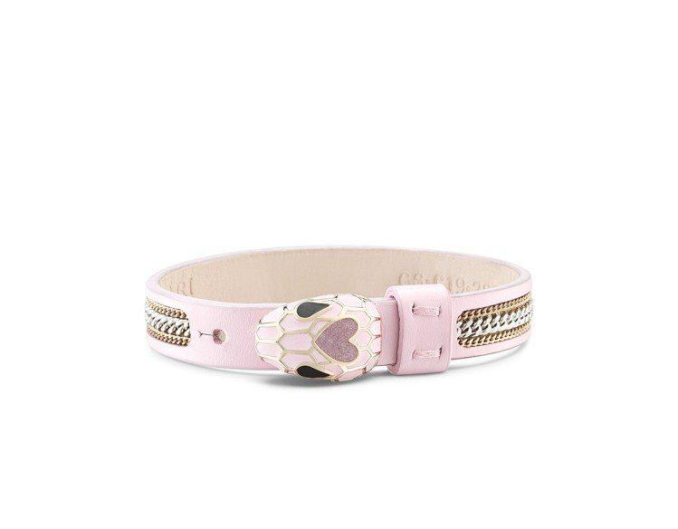寶格麗Serpenti Forever粉色小牛皮手環,不分售。圖/BVLGARI...