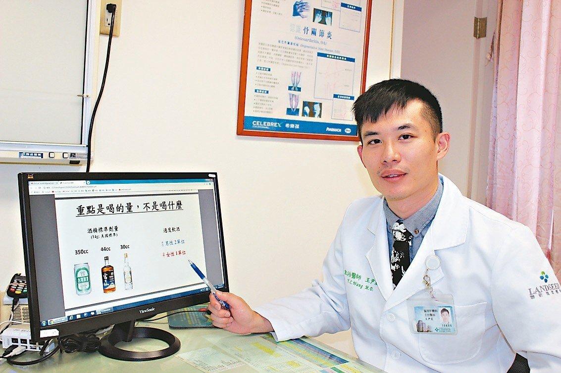 王尹宸醫師表示喝酒會臉紅,代表體內缺乏乙醛去氫酶。 圖/聯新國際醫...