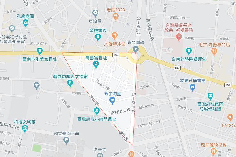 台南市中西區開山里地圖。 取自google map