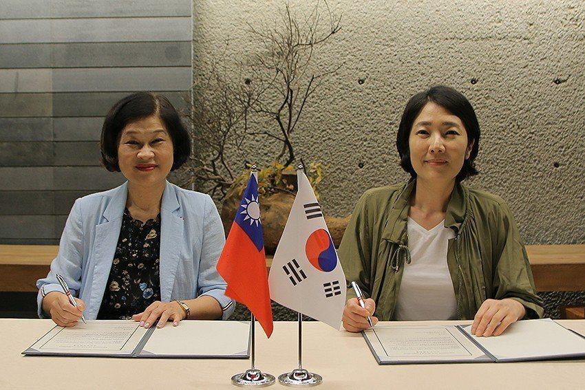 陶博館長吳秀慈(左)與韓國金海美術館長崔禎恩(Jeongeun Choi)簽下文...