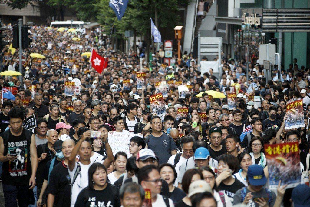 圖為香港7月7日九龍示威集會。 圖/美聯社