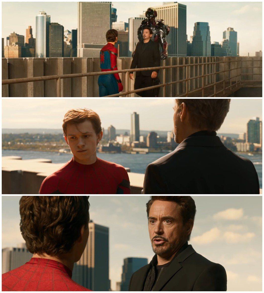飾演「鋼鐵人」的小勞勃道尼(Robert Downey Jr.)與飾演「蜘蛛人」...