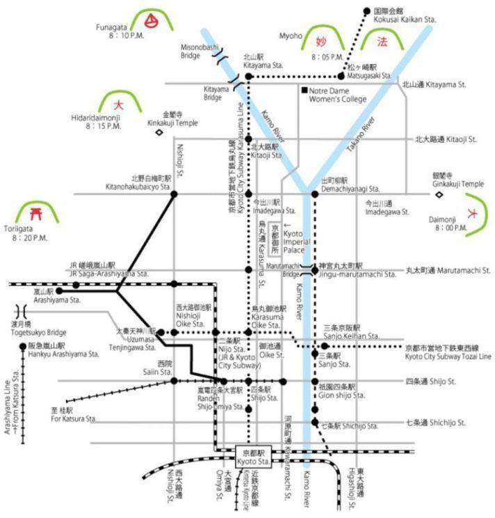 👆送火地點分布 圖/京都五山送火官網