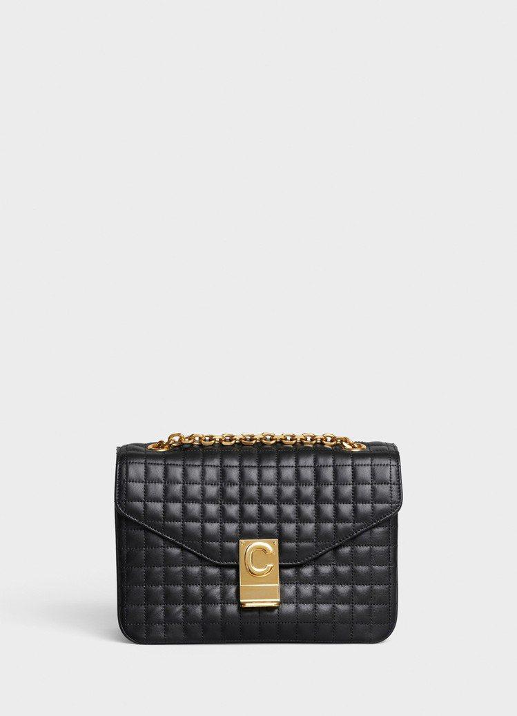 黝黑色格紋襯芯小牛皮中型鍊帶包,售價99,000 元。圖/CELINE BY H...