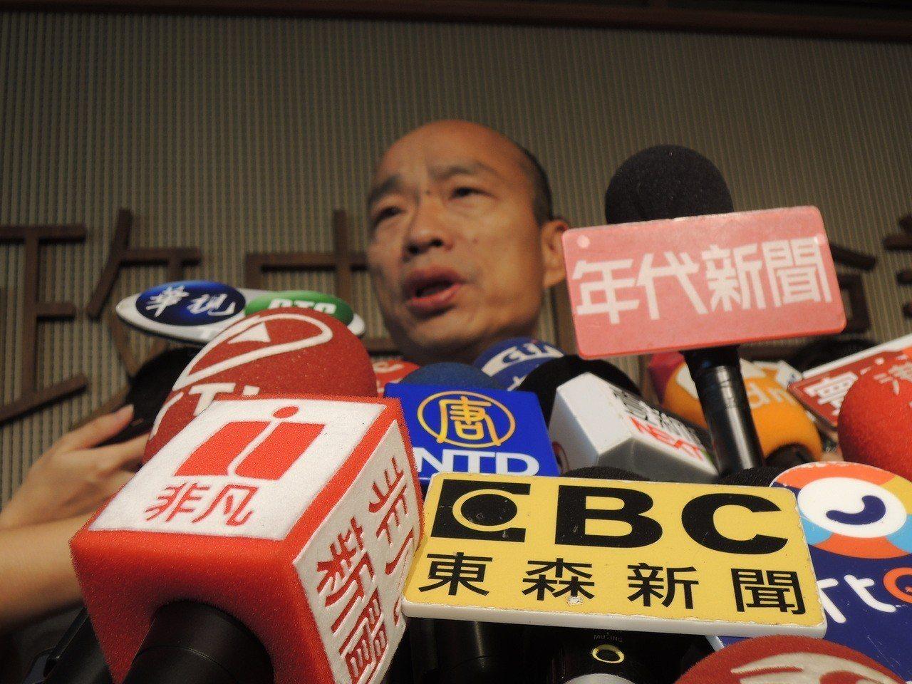 高市長韓國瑜市政會議後受訪。記者蔡孟妤/攝影