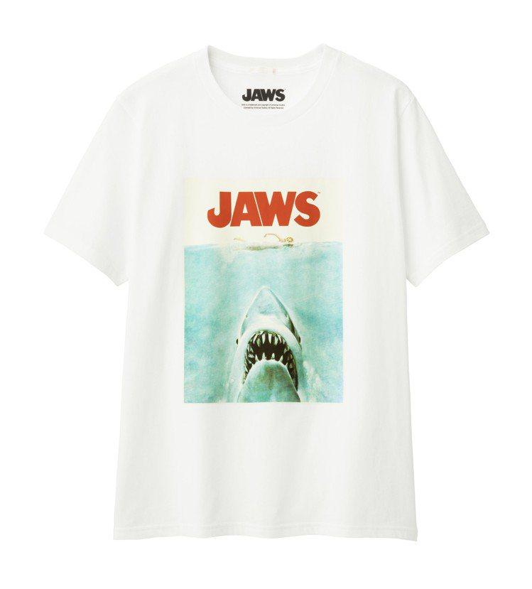 GU聯名大白鯊男裝印花T恤,售價290元。圖/GU提供