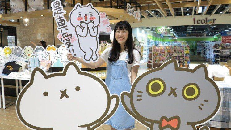 「反應過激的貓」咖啡店佈置有許多貓佈景讓粉絲拍照。圖/Global Mall提供