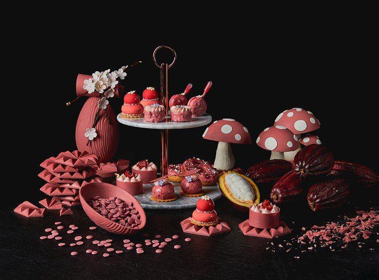台灣首發「紅寶石巧克力」下午茶套組680元+10%(每日限量20組)。圖/香格里...