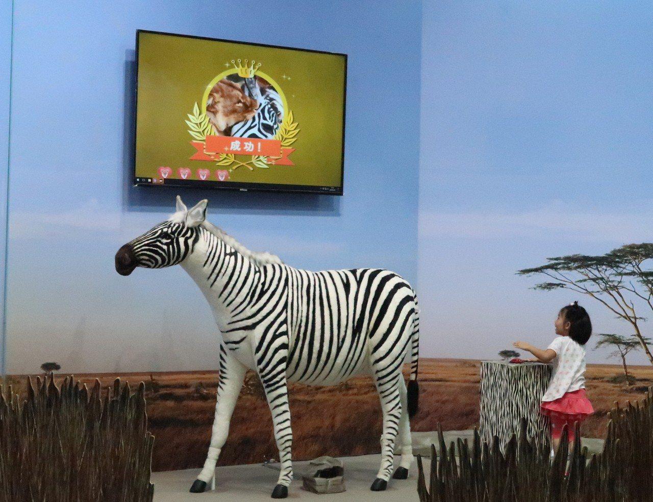 小朋友扮演獅子藏匿在叢中準備獵捕斑馬。記者徐如宜/攝影