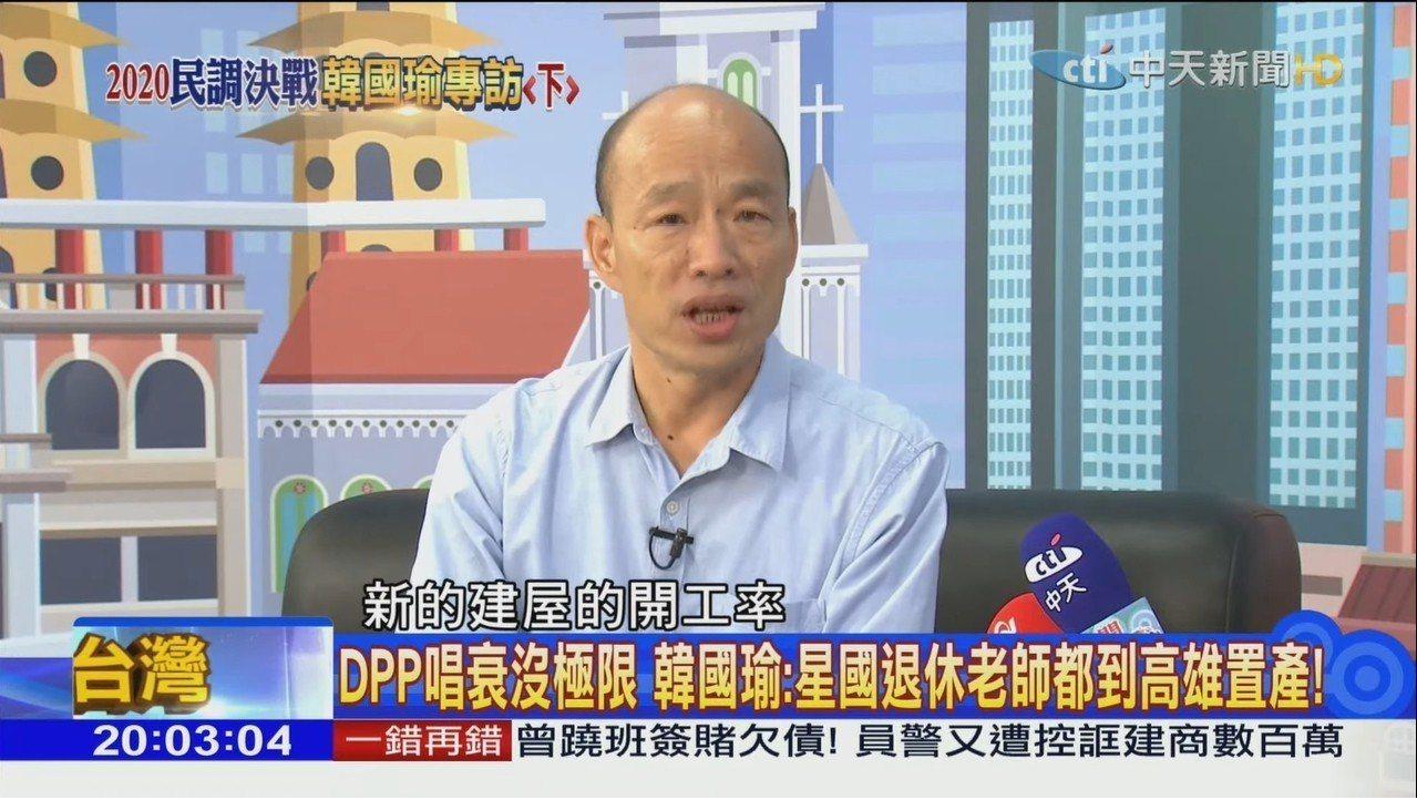 高市長韓國瑜接受中天「新聞深喉嚨」專訪,談美中台關係。記者林伯驊/翻攝