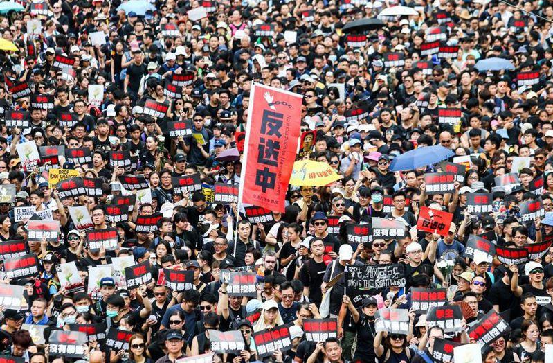 「逃犯條例」修訂引發香港社會爭議,民眾反送中出現多次百萬人大遊行。 圖/聯合報系資料照片