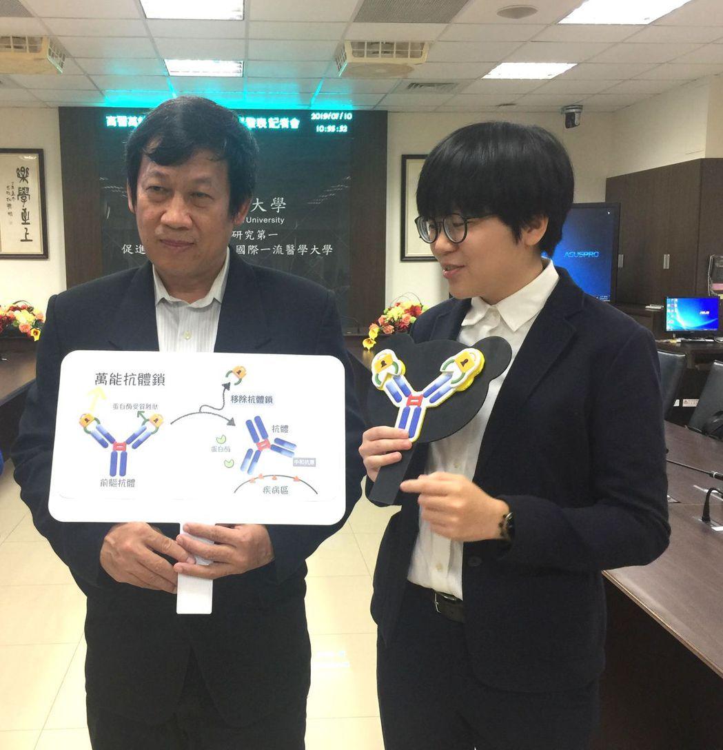 研發長鄭添祿(左)與研發的團隊共同說明萬能抗體鎖的特性。 楊鎮州/攝影
