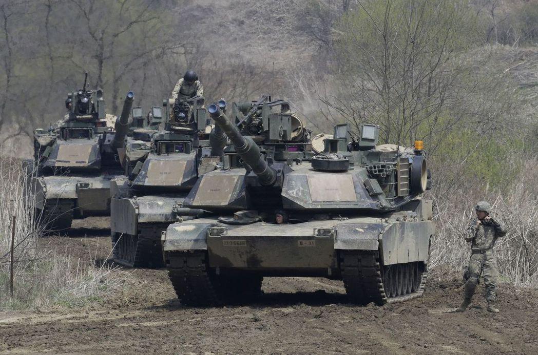 美國宣布出售108輛M1A2戰車給台灣。 (美聯社)