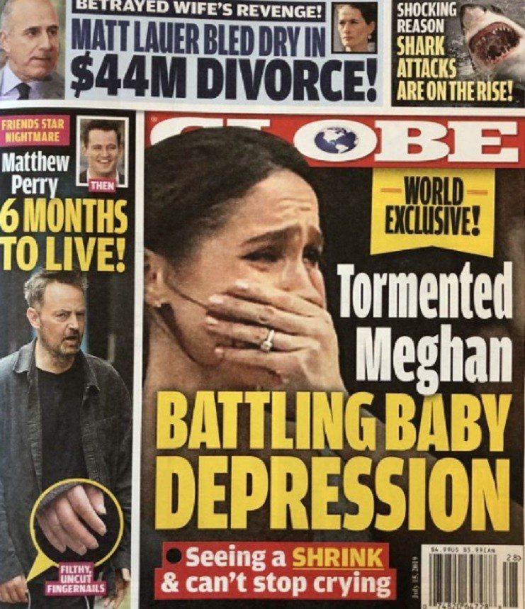 八卦刊物以封面故事指梅根產後憂鬱嚴重,常常痛哭。圖/摘自Globe