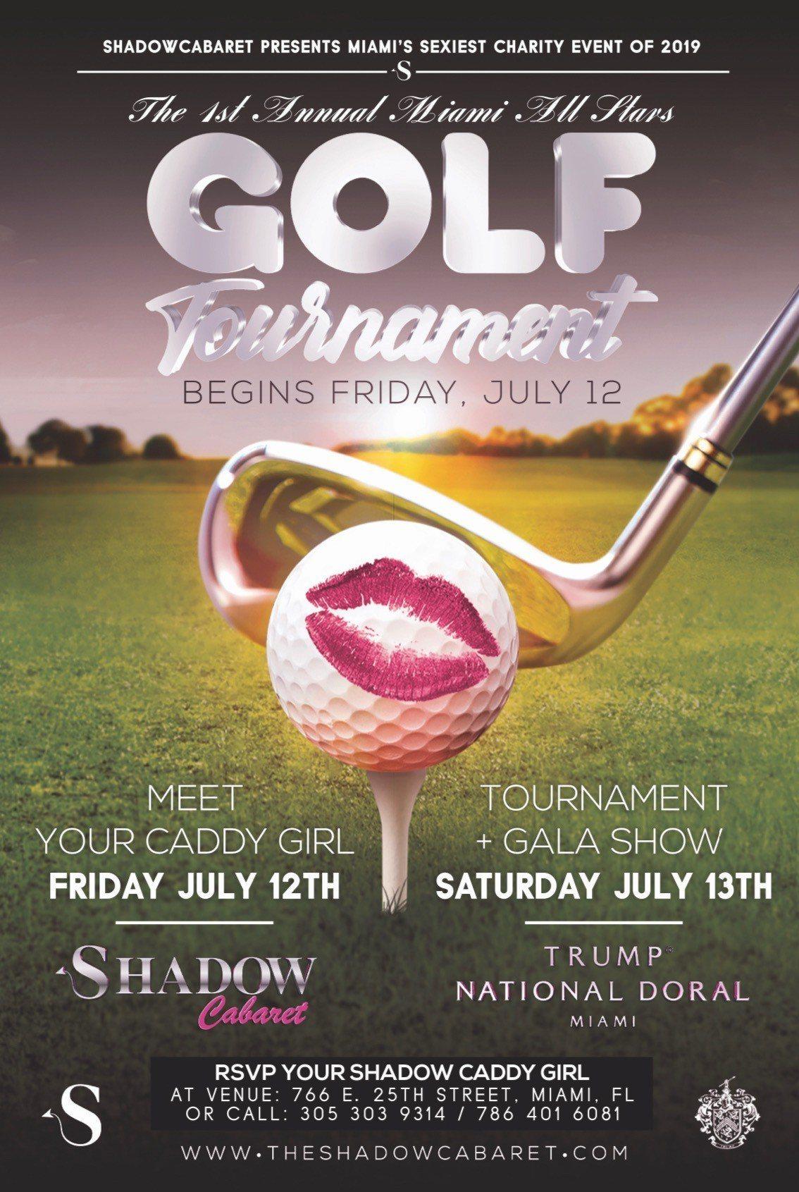 佛州「影子夜總會」舉辦的「影子全明星高爾夫球巡迴賽」廣告。取自官網