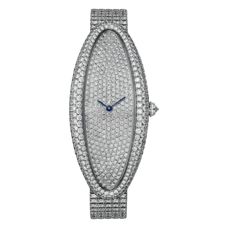 BAIGNOIRE ALLONGÉE白K金鋪鑲鑽石腕表超大型款,1917MC型手...