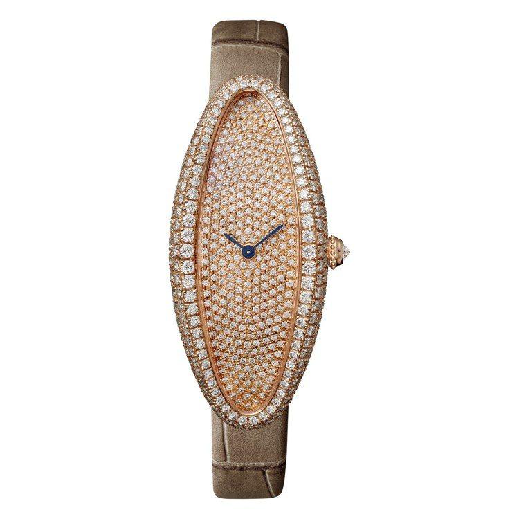 BAIGNOIRE ALLONGÉE玫瑰金鋪鑲鑽石腕表超大型款,1917MC型手...