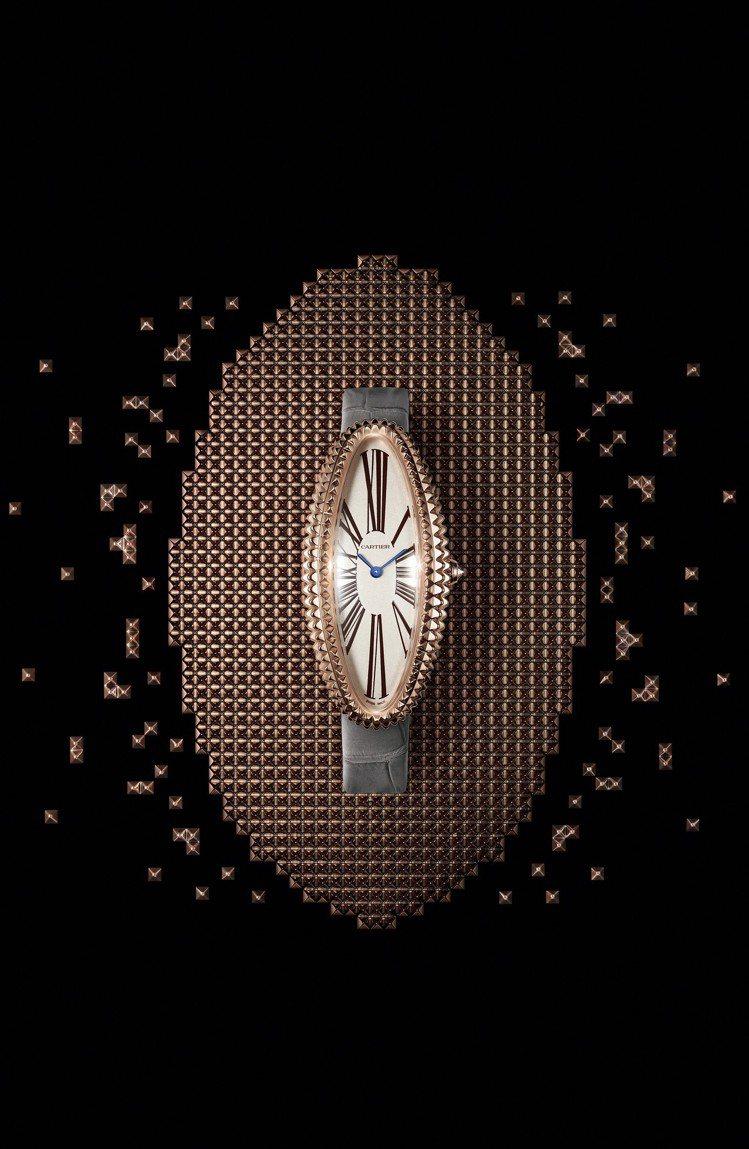 BAIGNOIRE ALLONGÉE玫瑰金腕表中型款,1917MC型手動上鍊機芯...