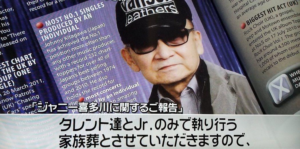 日本傑尼斯事務所創辦人Johnny喜多川昨天下午病逝,享壽87歲。圖/摘自推特