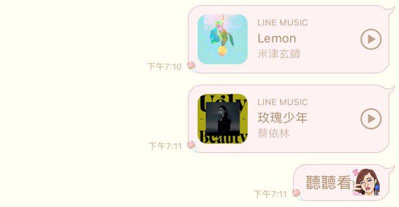「一鍵分享」功能整合音樂與社群特性,方便用戶隨時將30秒歌曲片段分享到LINE聊天室中。圖/手機截圖