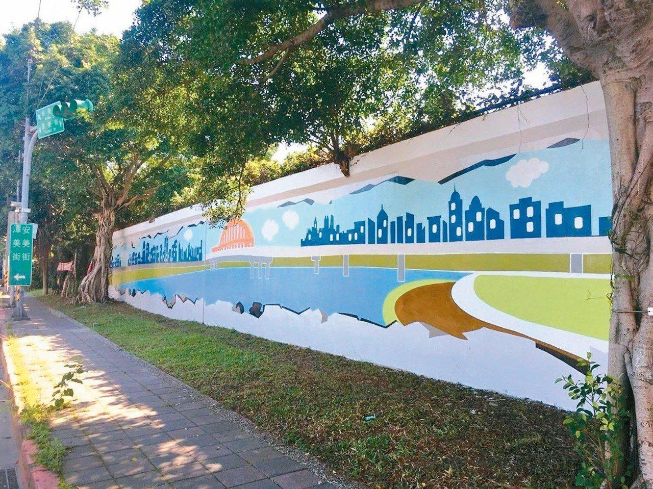 台北市水利處於潭美街、安美街施作堤壁彩繪,已於近期完工。 圖/台北市水利處提供