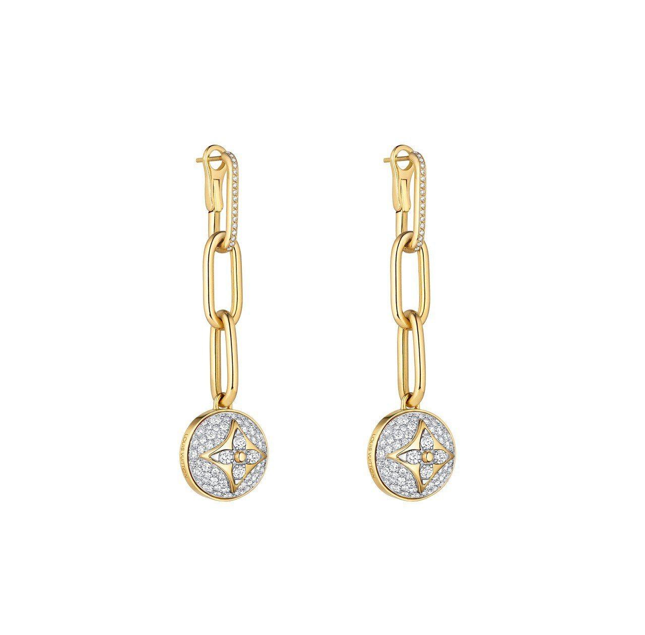 路易威登B BLOSSOM系列,黃K金和白K金配密鑲鑽石耳環,約76萬元。圖/L...