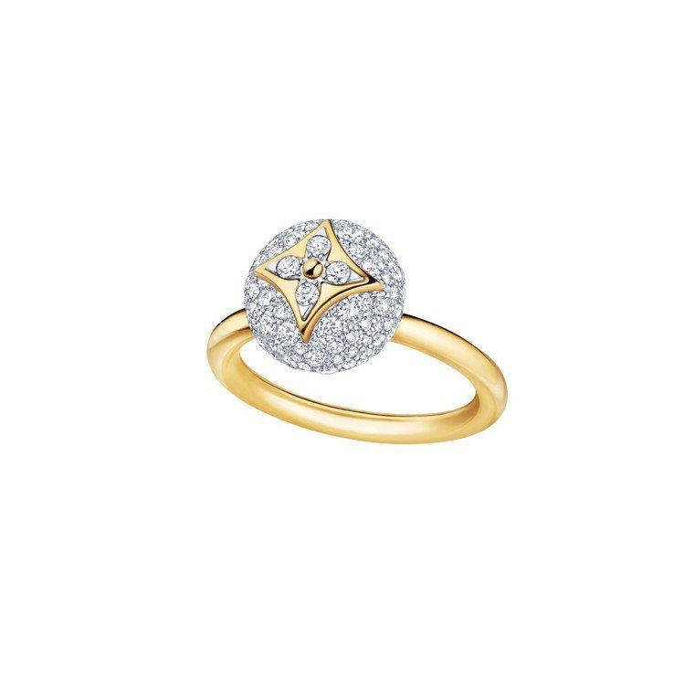 路易威登B BLOSSOM系列,黃K金及白K金配鑽石鑲嵌戒指,約31萬9,000...