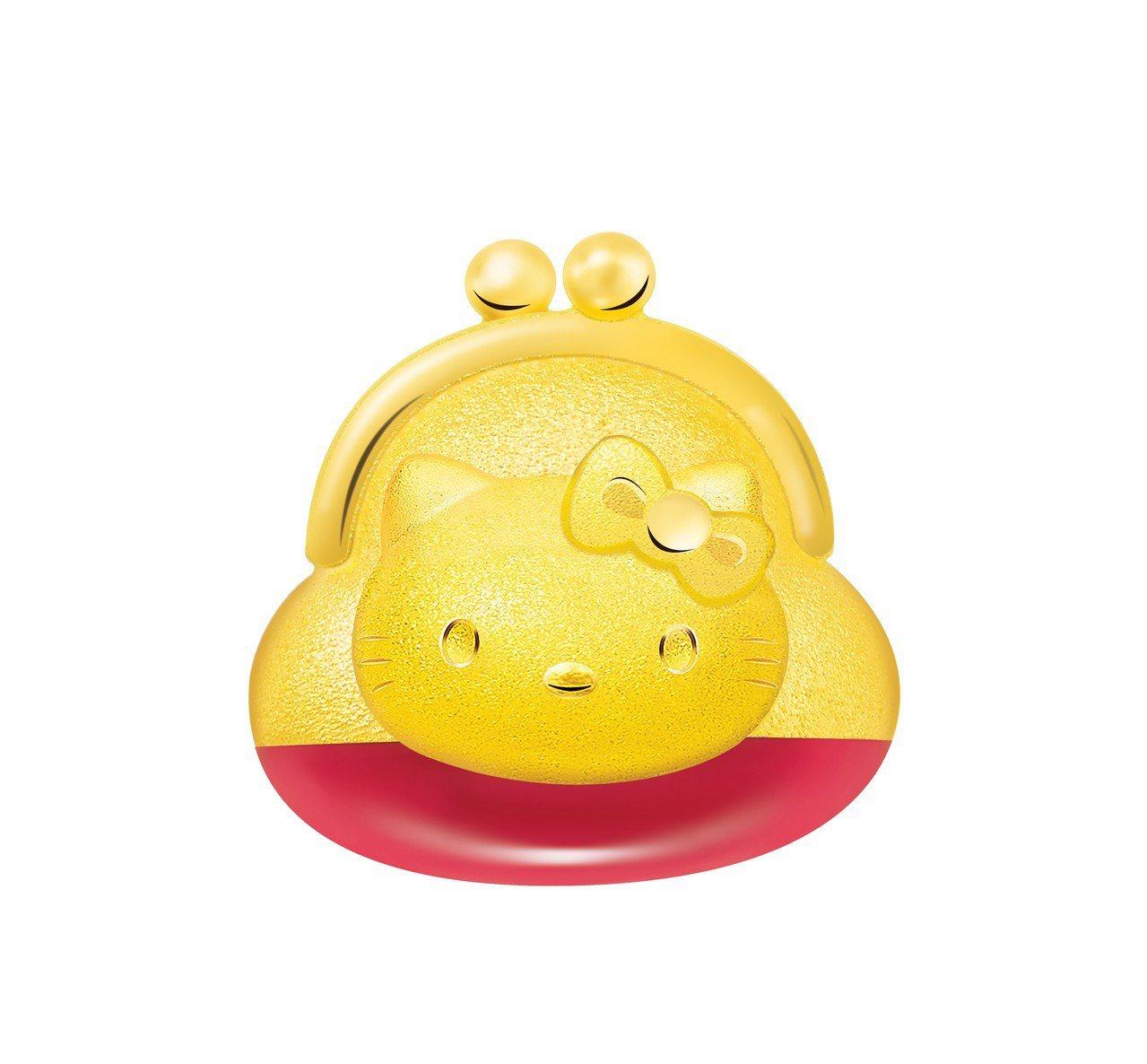 鎮金店Hello Kitty45周年零錢包單耳耳環,11,000元。圖/鎮金店提...