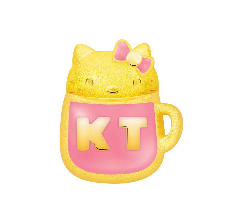 鎮金店Hello Kitty周年粉紅水杯單耳耳環,11,600元。圖/鎮金店提供