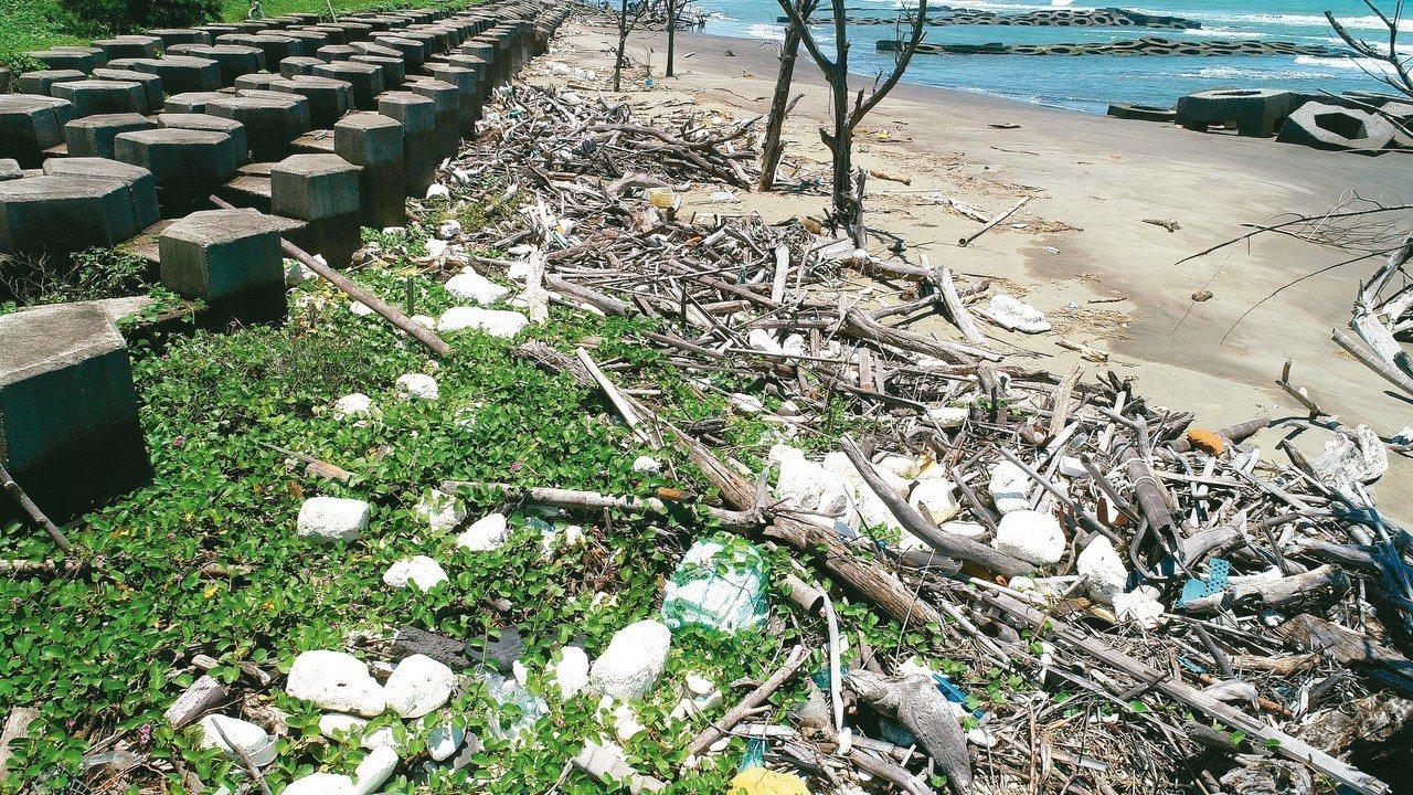 海廢問題嚴重,不少海岸線經常可見滿布海漂垃圾。 圖/聯合報系資料照片