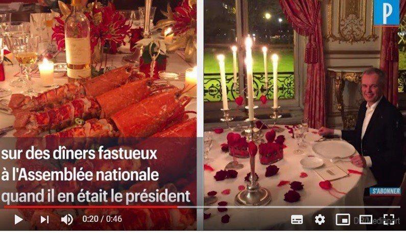 法國環境部長魯吉被指控在國會議長任內,舉辦奢華社交晚宴。晚宴提供巨大龍蝦、市值5...