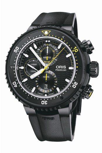 ORIS Dive Control限量計時碼表,黑色DLC不鏽鋼表殼,具備計時表...