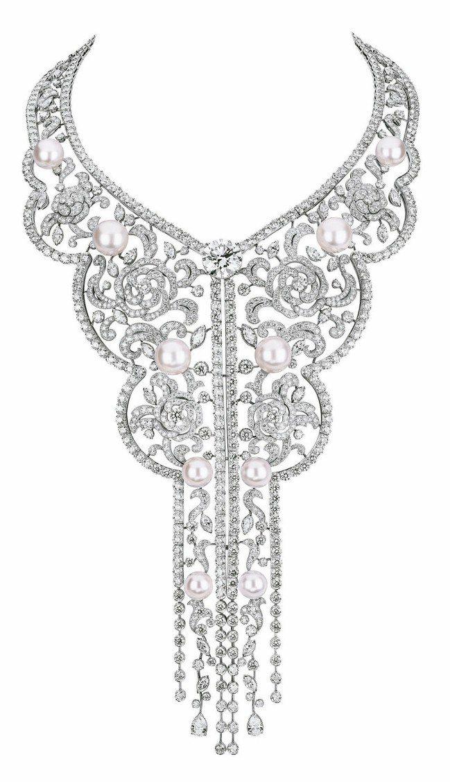Sarafane項鍊,18K白金鑲嵌鑽石及奶油粉色養珠,1億5,226萬6,00...