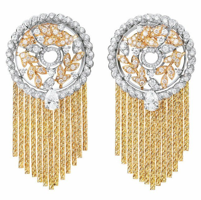 Blé Gabrielle耳環,18K白金及黃金鑲嵌2顆分別重約0.50克拉梨形...