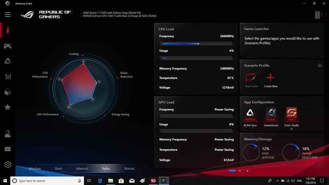 Asus Armoury Crate監控軟體讓Ryzen 7-3750H效能操全...