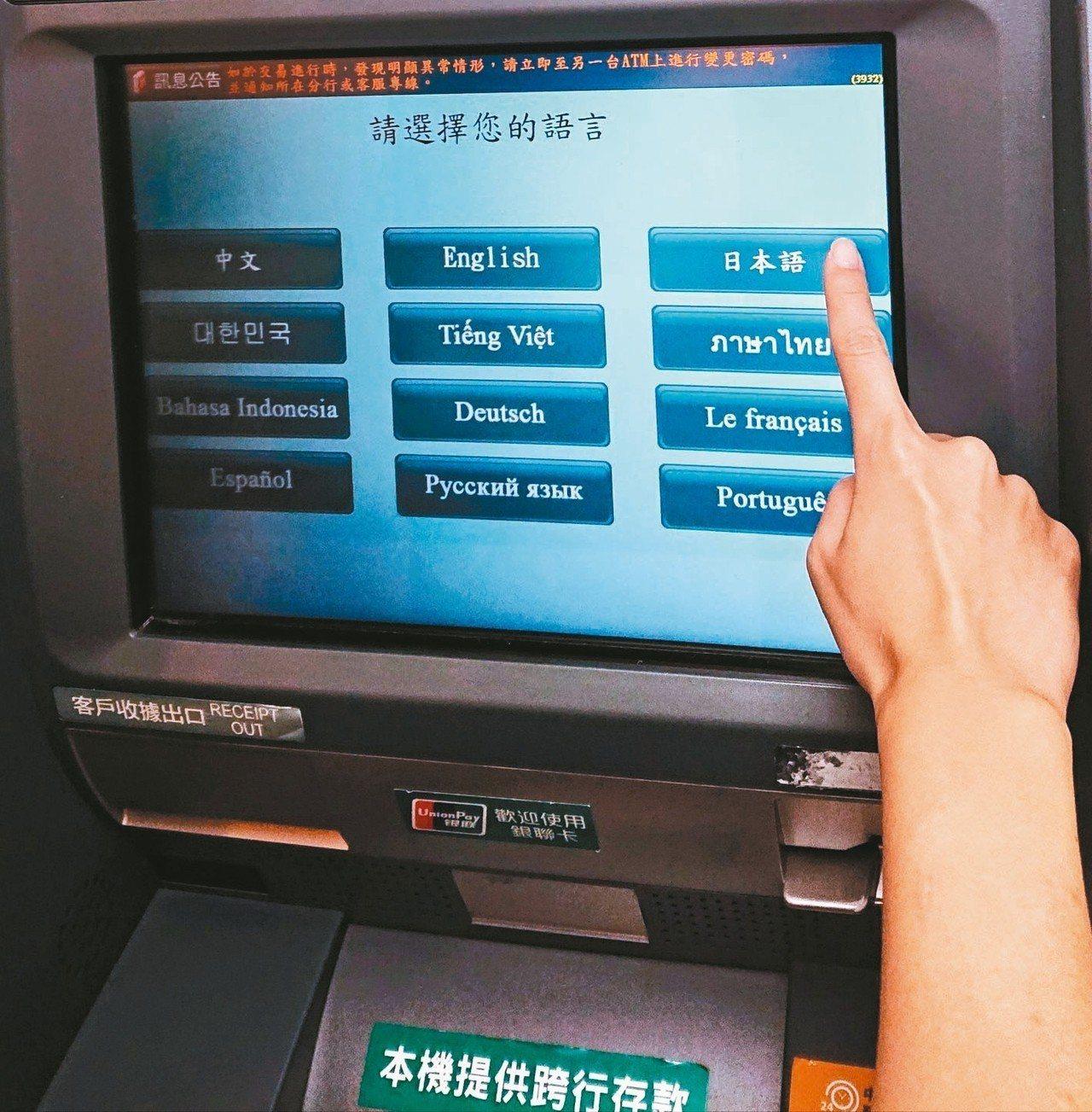 外籍人士持國際金融卡至中信銀行ATM進行跨國提款或預借現金交易,輸入密碼後將出現...