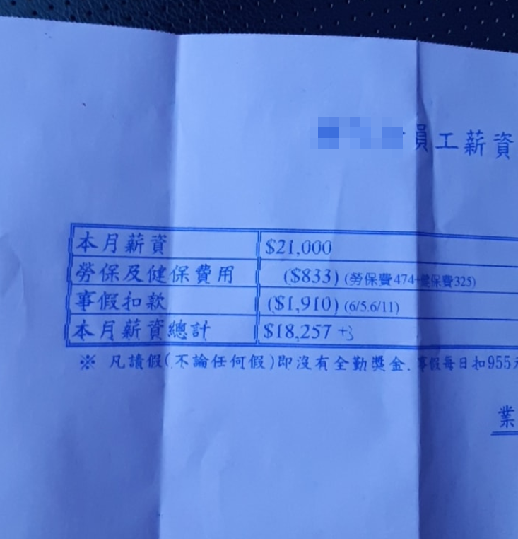 台東一名男網友PO出薪資單,抱怨薪資實在太低,網友勸他可以跟勞工局申訴。 圖/翻...