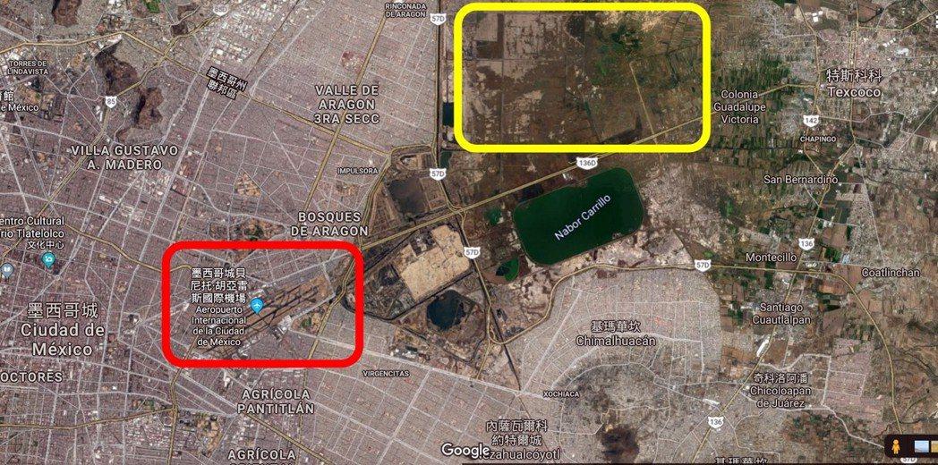 紅色框為目前現役的「舊墨西哥機場」(貝尼托華雷茲);黃色框為原本興建預定的「新墨...