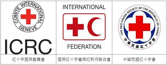 圖二、國際紅十字會組織與各國紅十字會組織之標誌 (圖片來源:TIPO)