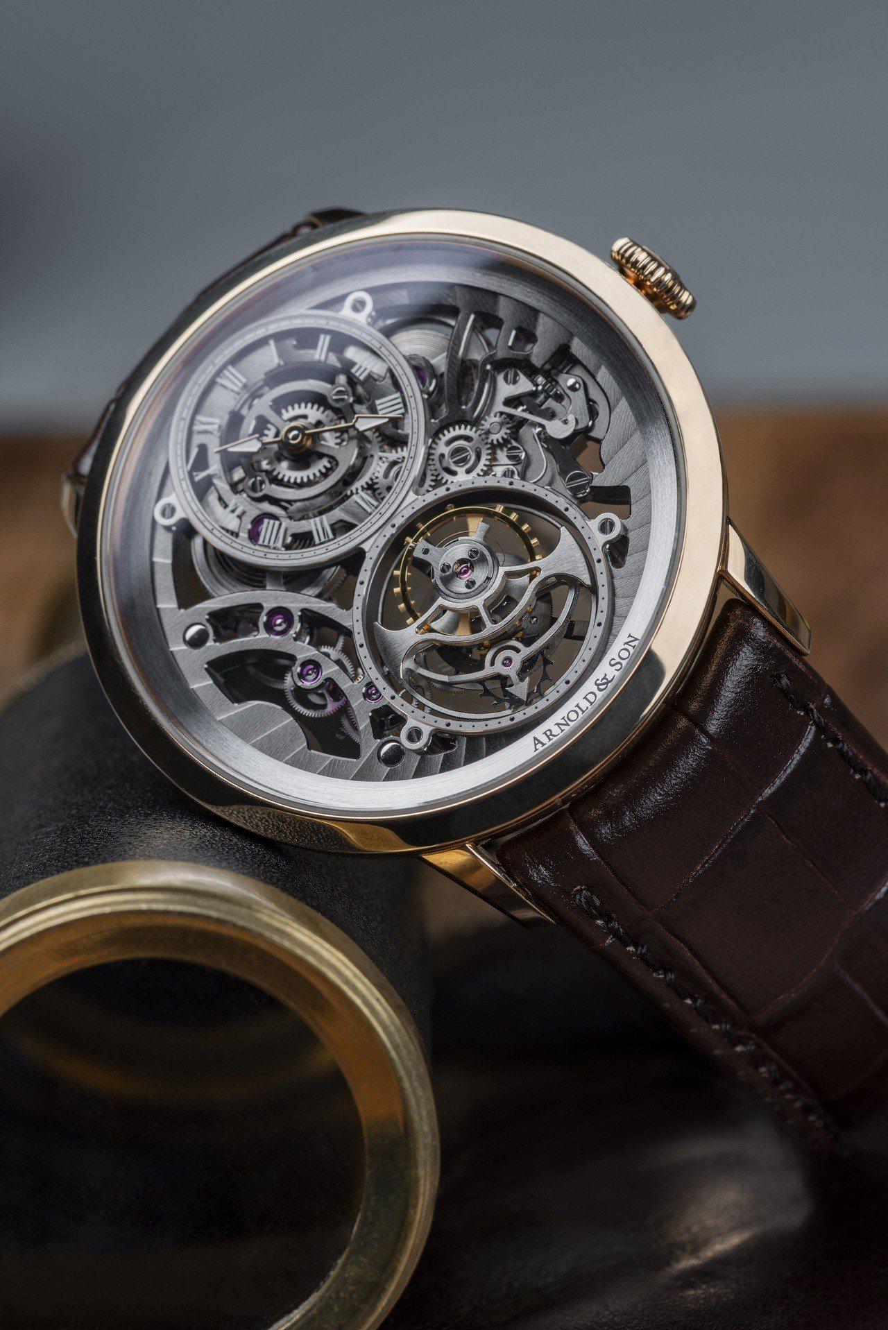亞諾UTTE鏤空陀飛輪腕表,254萬1,500元,限量50枚。圖/亞諾表提供