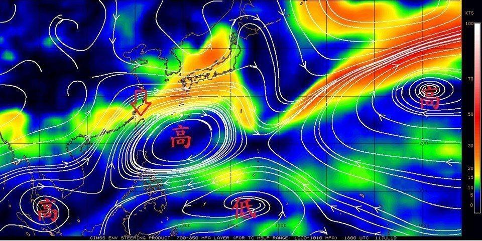 太平洋高壓勢力增強。圖/取自鄭明典臉書