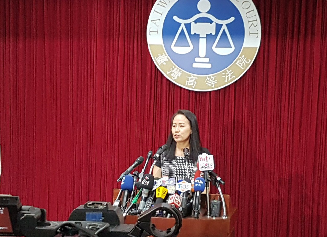 台灣高等法院發言人連育群說明馬英九被控洩密案無罪關鍵。記者王宏舜/攝影