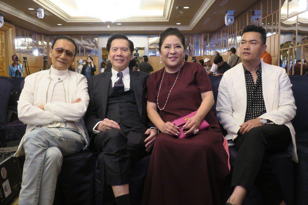 謝賢(左起)、向華強、陳嵐、呂良偉一起來台挺老友。記者蘇詠智/攝影