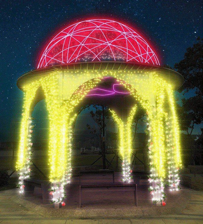 會不斷變換色彩的愛戀涼亭。圖/擷取自新北市水利局官網