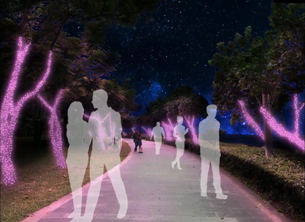 河堤步道旁的光雕路燈。圖/擷取自新北市水利局官網