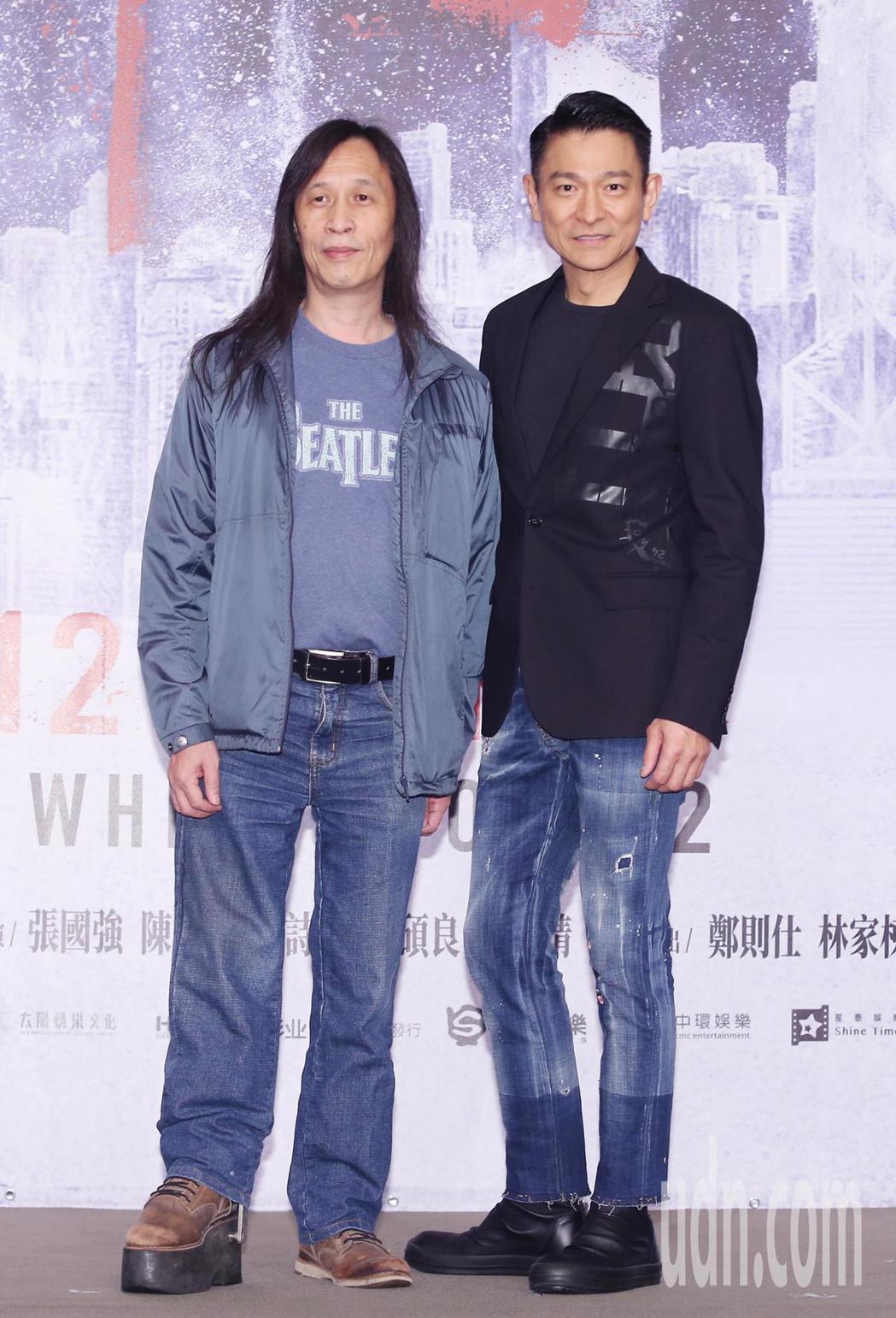 劉德華(右)與導演邱禮濤(左)來台舉行一系列的宣傳活動。記者徐兆玄/攝影