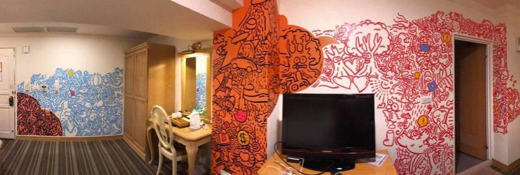 莫荔親自彩繪的歡樂塗鴉房,完整呈現國三生心中對於世界的解讀及幻想。 業者/提供