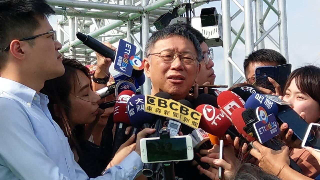 台北市長柯文哲下午參加熊讚水樂園開幕活動。記者楊正海/攝影